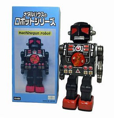 Black Metal House Robot Japan Machine Gun Robot Tin Toy