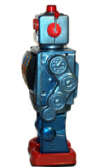 ME100 Robot Blue Metallic Tin Toy Battery Operated - New Stock Arriving Soon!