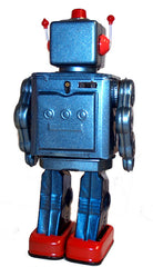 ME100 Robot Blue Metallic Tin Toy Battery Operated