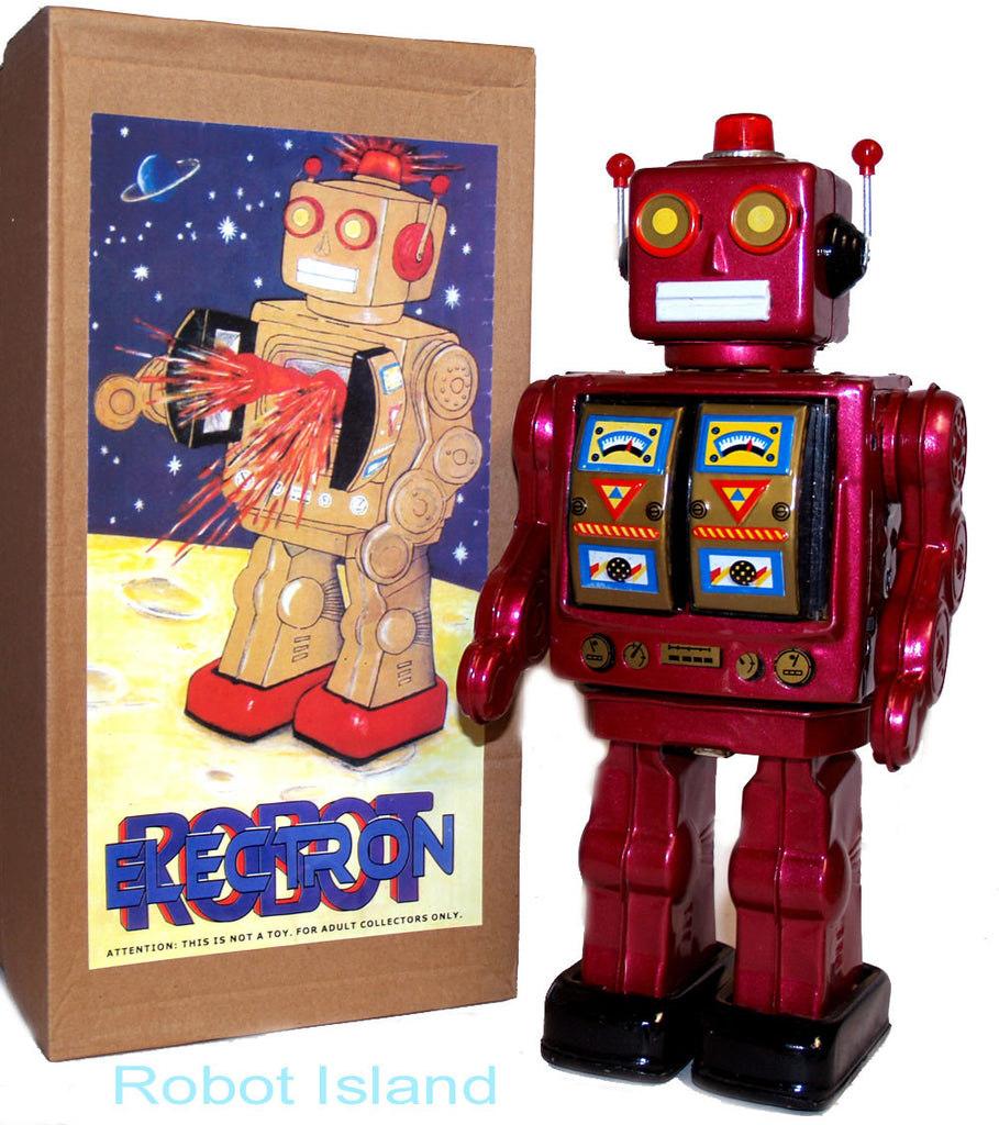 ME100 Robot Tin Toy Burgundy Red Mr. D Cell