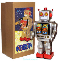 ME100 Robot Silver Tin Toy Mr. D-Cell with Gold Doors
