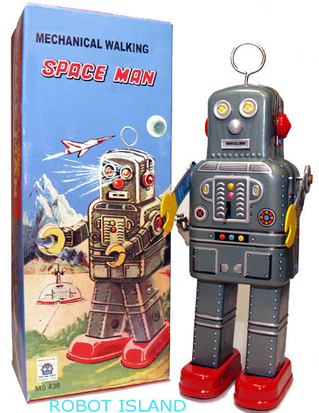 Mechanical Spaceman Robot Windup Tin Toy with Antenna - SALE!
