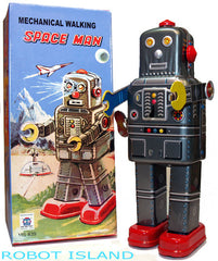 Mechanical Spaceman Robot Tin Toy Wind-up with Cap