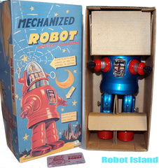 Mechanized Robby The Robot Osaka Tin Toy Japan Blue limited Edition
