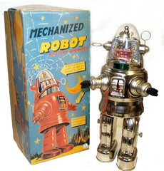 Chrome Mechanized Robby The Robot Osaka Tin Toy Japan Chrome