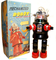 Black Mechanized Robby the Robot Japan Osaka Tin Toy - temporarily sold out