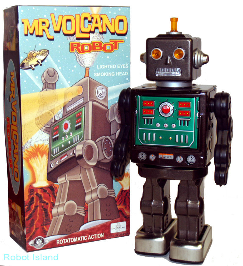 Metal House Volcano Robot Tin Toy Japan