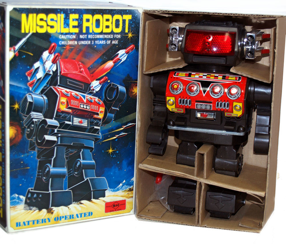 Missile Robot Horikawa Japan Tin Toy Battery Operated - SOLD!