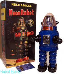 Moon Robot Robby the Robot Tin Toy Windup Limited Edition BLUE