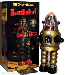 Gold Moon Robot Robby the Robot Tin Toy Windup Limited Edition