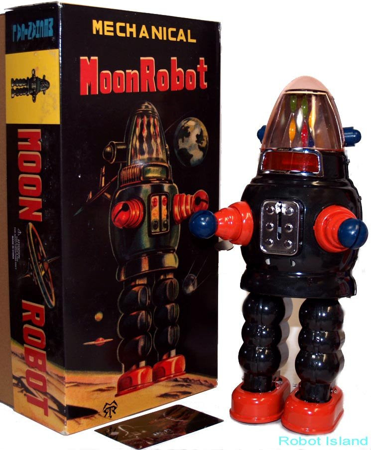 Moon Robot Robby the Robot Tin Toy Windup Limited Edition black