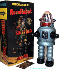 Moon Robot Robby the Robot Tin Toy Windup Limited Edition GREY
