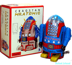 Mr. Atomic Robot Tin Toy Windup BlUE - SALE!