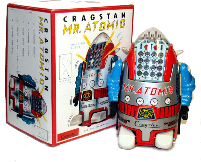 Cragstan Mr. Atomic Robot Tin Toy Battery Operated by MTH - SALE!