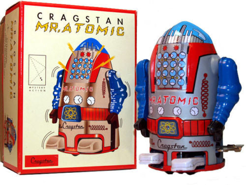 Atomic Robot Mr. Atomic Tin Toy Wind up Silver - Holiday Sale!