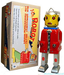 Mr. Robot Tin Toy Windup The Mechanical Brain Red - SALE