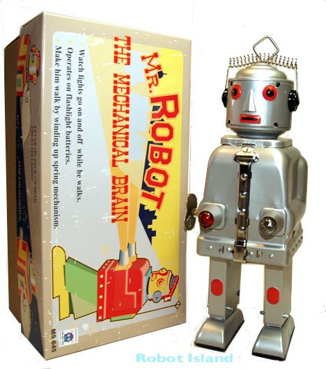 JUST ARRIVED! Mr. Robot Tin Toy Windup The Mechanical Brain Silver - SALE!