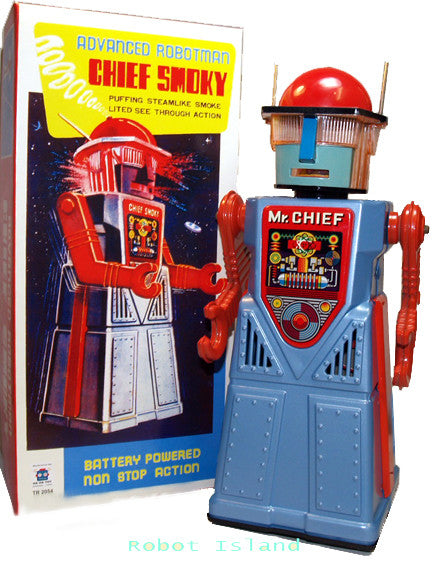 Chief Smoky Robot Tin Toy Blue Battery Operated - SALE!