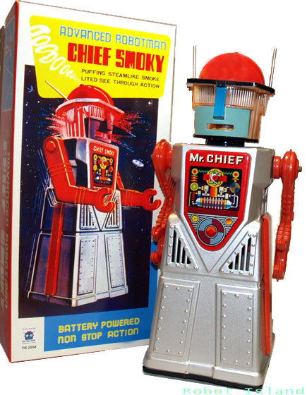 Chief Smoky Robot Tin Toy Mr. Chief Silver Edition - HOLIDAY SALE!