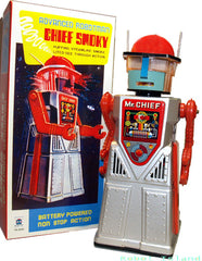 Chief Smoky Robot Tin Toy Mr. Chief Silver Edition