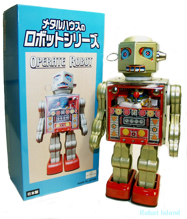 Metal House Operator Robot Tin Toy