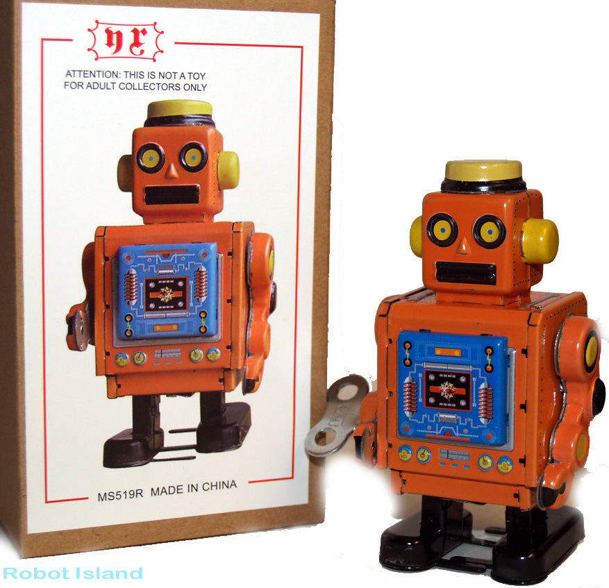 Horikawa Style Robot Guard Tin Toy Windup Orange