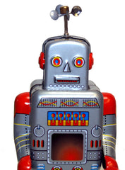 Robot Tin Toy Windup Weatherman Peddle Feet