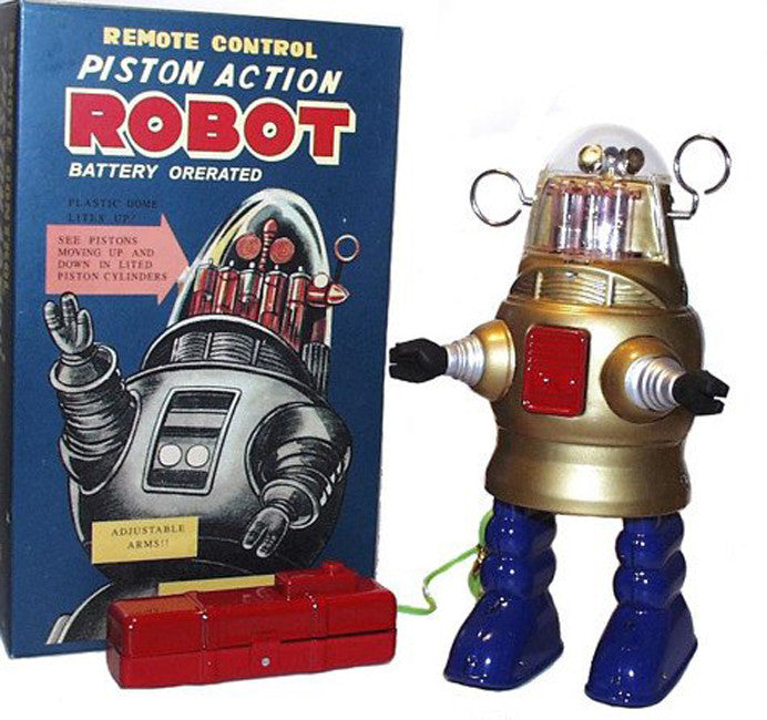 Gold Piston Action Robot Tin Toy Battery Operated Robby the Robot
