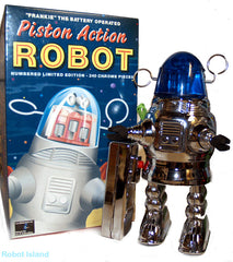 Piston Action Robot Tin Toy CHROME Battery Operated Robby the Robot with Blue Dome