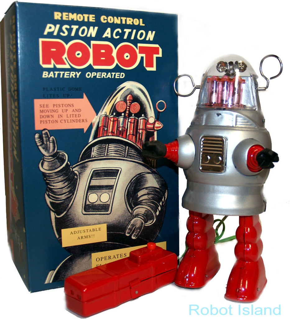 Piston Action Robot Tin Toy Battery Operated Silver - Robby the Robot - Holiday SALE!