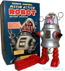 JUST ARRIVED! Piston Action Robot Robby the Robot Tin Toy Battery Operated -SALE!