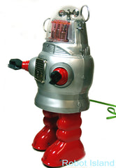 Piston Action Robot Tin Toy Battery Operated Silver - Robby the Robot-SALE!