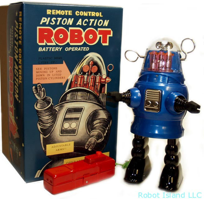 Piston Action Robot Blue Tin Toy Battery Operated  Robby the Robot SALE!