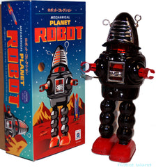 Planet Robot Robby the Robot Black Windup Tin Toy Black