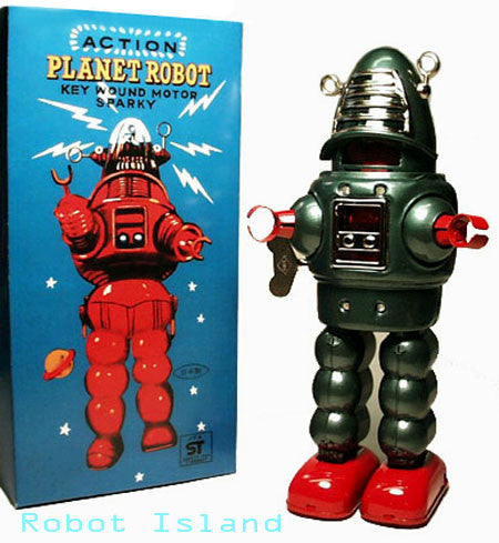 Planet Robot Tin Toy Windup Green Robby the Robot