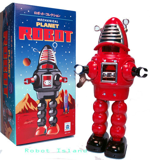 Planet Robot Tin Toy Robby the Robot Windup Red
