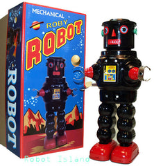 Black R-35 Robot Tin Toy Windup meets Robby the Robot Black - SALE!