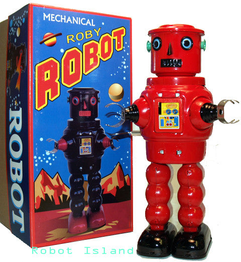 JUST ARRIVED! R-35 Robot Tin Toy Windup meets Robby the Robot Red