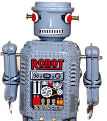 R-35 Cylinder Head Robot Wind Up Tin Toy