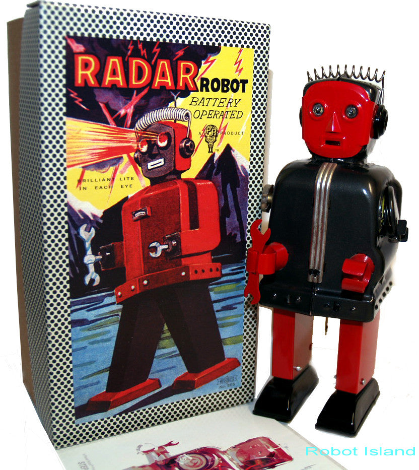 Radar Robot Zoomer Tin Toy Battery Operated Black and Red