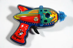 Atomic Space Gun Blaster Ray Gun Tin Toy Light Up Effect