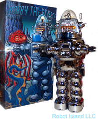 Chrome Robby the Robot with Blaster Japan Osaka Tin Toy Sample Version