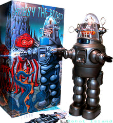 Gray Gun Metal Japan Robby the Robot with Blaster Osaka Tin Toy Japan Exclusive