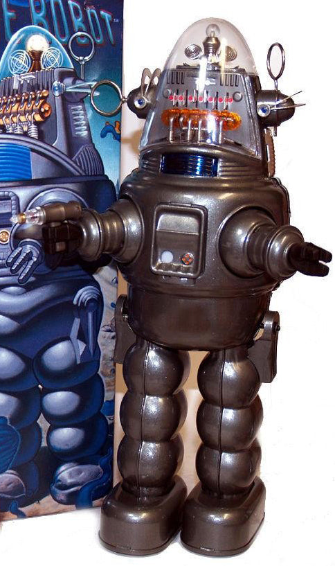 Grey Robby the Robot with Blaster Osaka Tin Toy Japan Exclusive Metallic Gloss - SALE!
