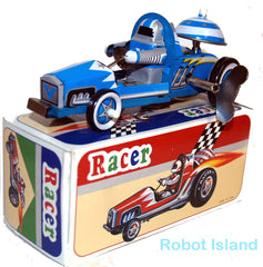 Robot Racer Tin Toy Windup Race Car Blue