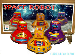 Flying Saucer Tin Toy Windup Set Robot Heads - Just Arrived!