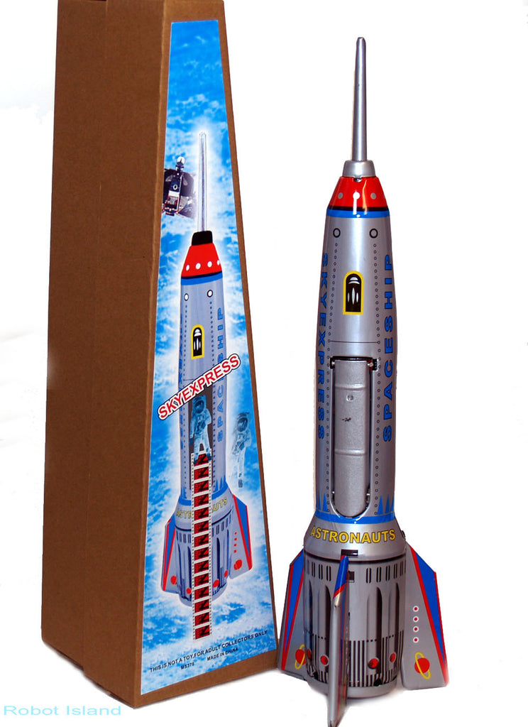 "Tin Toy Moon Rocket Space Ship Giant 15"" Tall Friction - Display Sale!"
