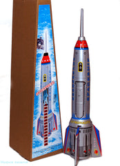 "Giant Rocket Tin Toy 15"" Tall Friction Powered Spring Activated Space Toy"