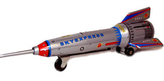 "Rocket Tin Toy 15"" Tall Space Toy Friction Power Spring Activated"