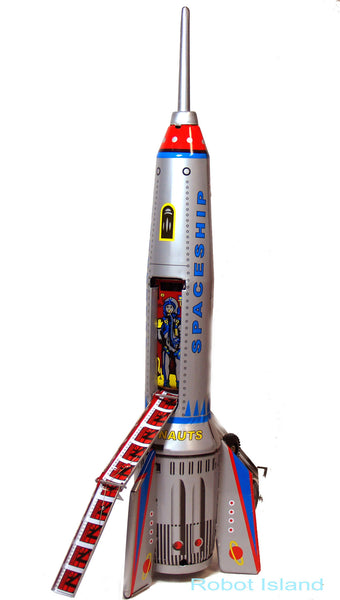 """Tin Toy Space Ship Giant Rocket 15"""" Tall Friction Powered ..."""